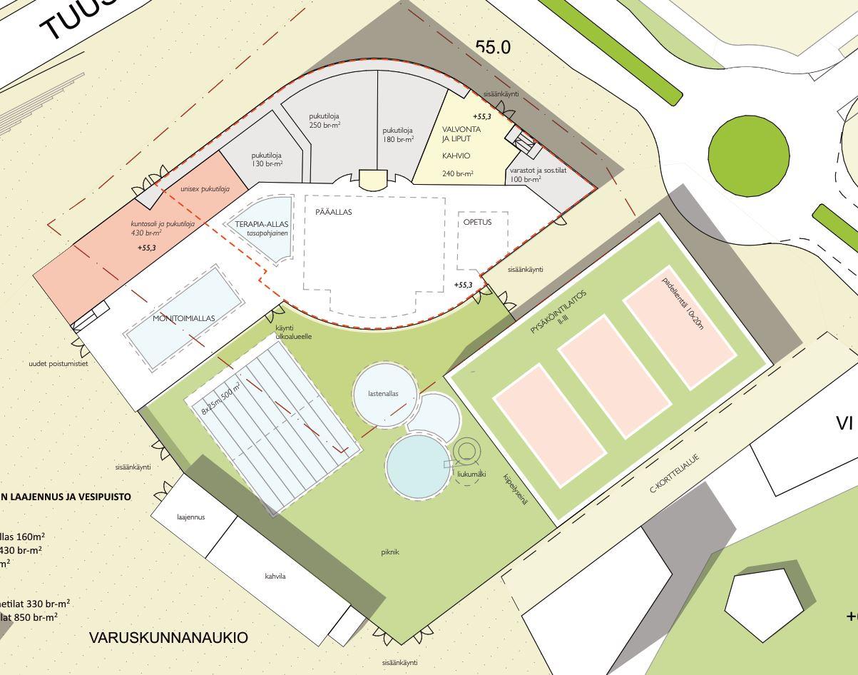 Luonnos uimahallialueen laajennuksesta